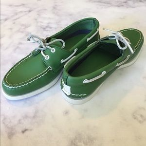 Sperry Shoes - Sperry Top-Sider Green + White Sole Boat Shoes