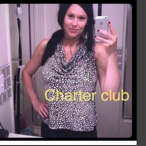 Sexy Charter club top white cowl open neck tank