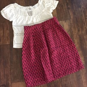 Loft size 2 cotton a-line skirt chevron pink brown