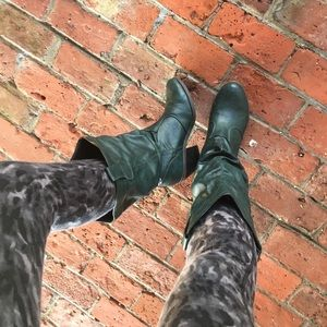 Faux dark green leather boots