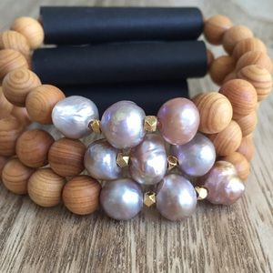 Function & Fringe Jewelry - Natural Pearl and Sandalwood Bracelets