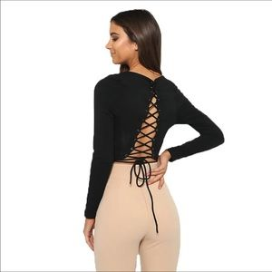 Backless lace up top