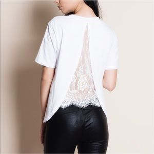 Tops - NEW! White Lace Back Tee