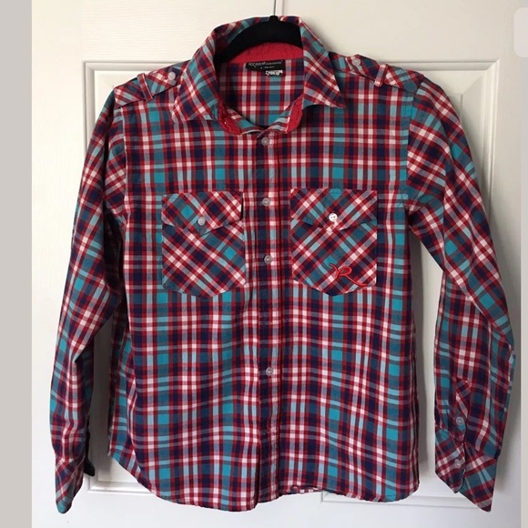 Rocawear shirts tops boys red white blue plaid shirt for Red white and blue plaid shirt