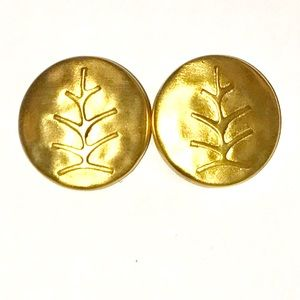 Vintage Jewelry - Vintage Gold Round Clip Earrings