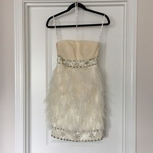 Sue Wong Dresses & Skirts - Off white Sue Wong ostrich feather dress