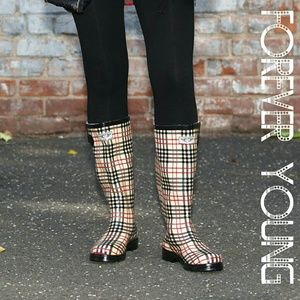 Women Tall Rain boots, #1417, Checkered Plaid
