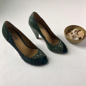 Seychelles Shoes - Seychelles green leather high heels rhinestones 7