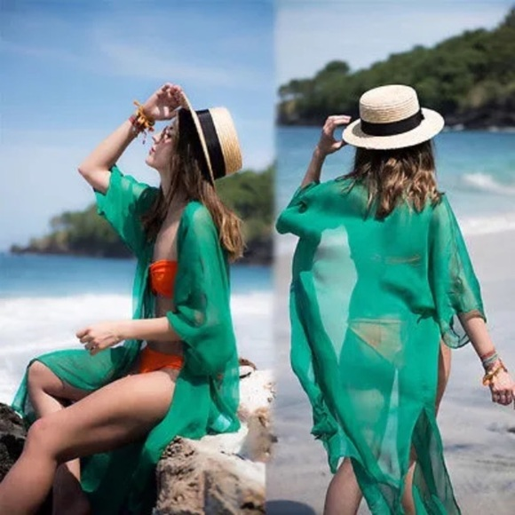 Boutique Other - Kelly Green Sheer Kimono Beach Coverup Swim