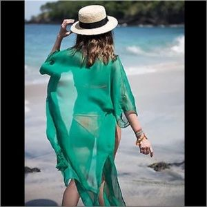 Boutique Swim - Kelly Green Sheer Kimono Beach Coverup Swim