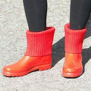 Women Ankle Rain Boots with Cuff, #1906, Red