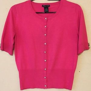 Audrey & Grace Sweaters - Audrey & Grace short sleeve hot pink cardigan S