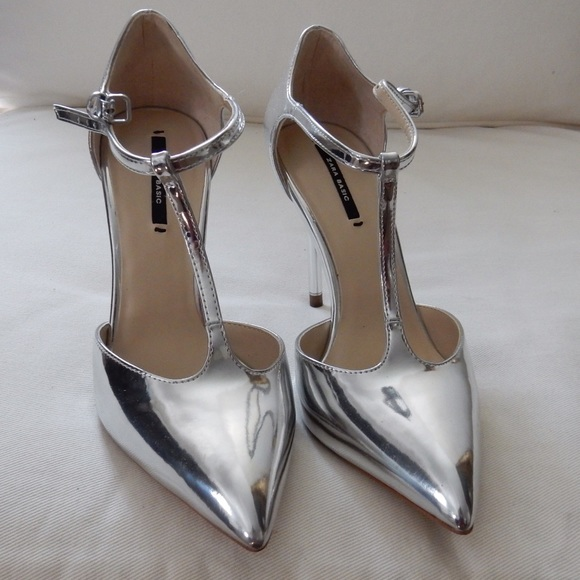 fe8db83fac6 Zara Shoes - Zara liquid silver t-strap heels