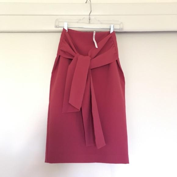 asos nwt asos pink big tie front midi pencil skirt