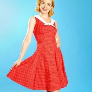 Red Polka Dot Sailor Pinup Dress