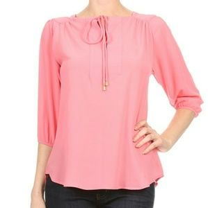 Tops - Salmon/Coral Tie Neck Tunic Blouse