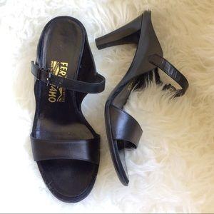 Size 7 b Salvatore Ferragamo black slides sandals