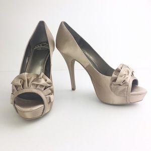 "Fergalicious Shoes - Fergalicious Satin Bronze Platform Heel 4.5"" Shoe"