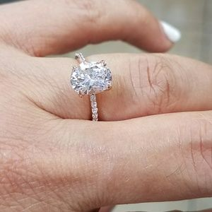 Jewelry - Dainty 14k Rose Gold 2ct Oval Engagement Ring