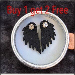 Jewelry - Black angel 😇 wings rhinestones stud earrings