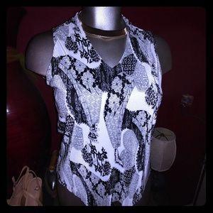 Sleeveless pleated V neck elegant blouse plus