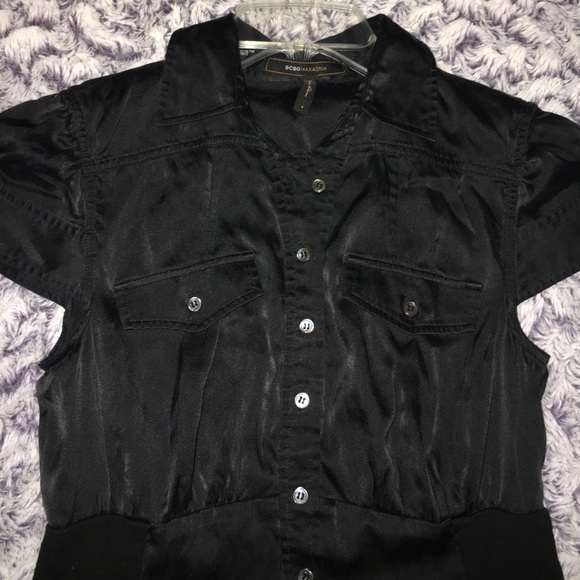 Bcbg Black Button Down Silk Cotton Bcbg Collar Shirt S