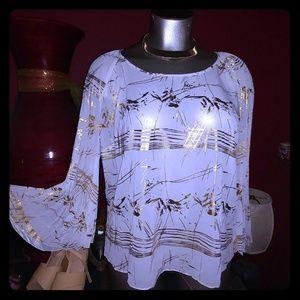 Pleated long sleeve tunic blouse plus size