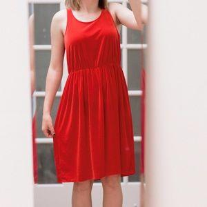 ANN TAYLOR Red Velvet Dress