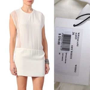 NWT IRO Jacel Off White Silk Contrast Dress