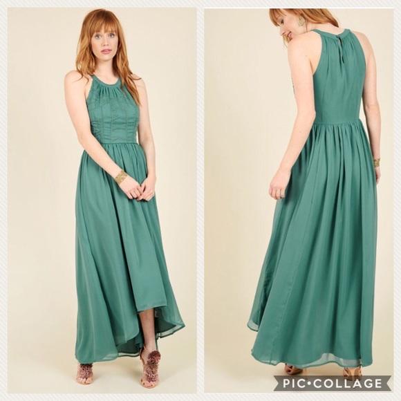 3ef9b17b54 Modcloth Brave New Whirl Maxi Green Dress