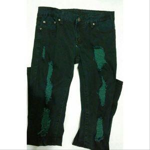 Puzzle Jeans Denim - Super distressed blue-green torn up jeans