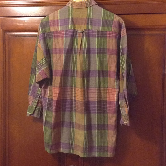 71 off jaeger tops lavender and green plaid button down for Green plaid button down shirt