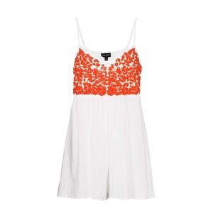 Topshop White Embroidered Short Romper