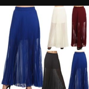 Iron puppy navy blue pleated sheer maxi skirt sm
