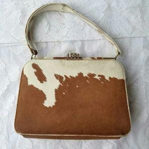 Handbags - Vintage Cow Hair Purse Handbag Brown & White