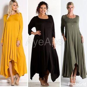 Dresses & Skirts - plus size loose oversized fit hi low maxi dress