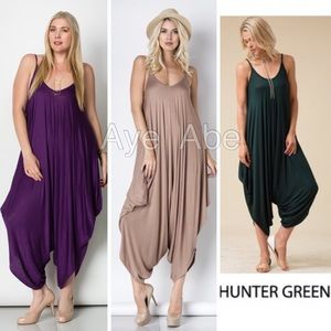 Pants - Plus size Boho jumpsuit palazzo harem pant dress