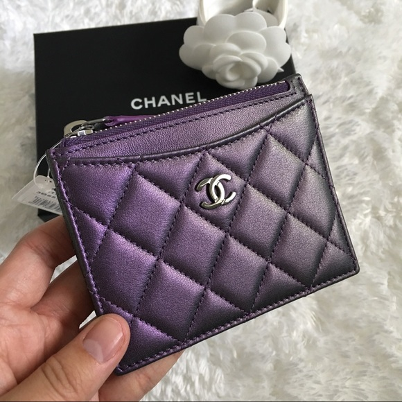 CHANEL Bags Sold Purple Iridescent Card Holder