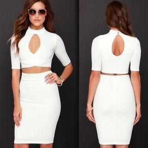 Lulu's Dresses & Skirts - Lulus two piece stretchy ivory dress