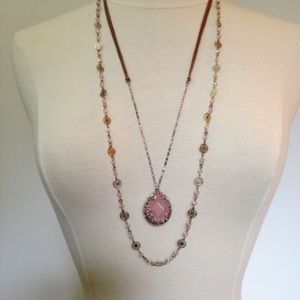 lonna & lilly Jewelry - Lonna & Lilly Rose quartz 2 in 1 Necklace