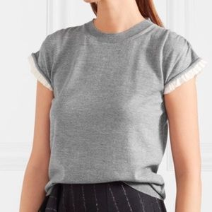 Jil Sander Tops - Jil Sander Ruffled Silk Crepe de Chine-trimmed Top