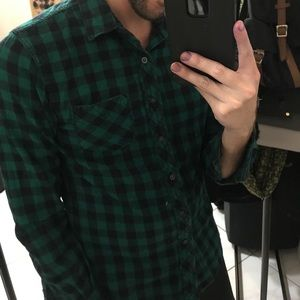 Green plaid men's xs button down