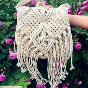 Handbags - Crotchet Fringe Beach Crossbody Shoulder Boho Bag
