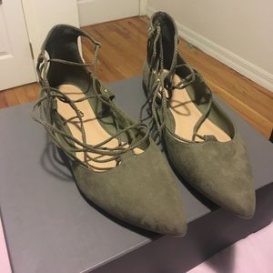 Olive Green Old Navy tie up flats