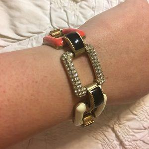 J. Crew Jewelry - Ivory, Orange and Pave Link J. Crew Bracelet
