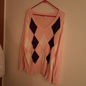 Energie Sweaters - Light pink/peach argyle sweater. 2xl.