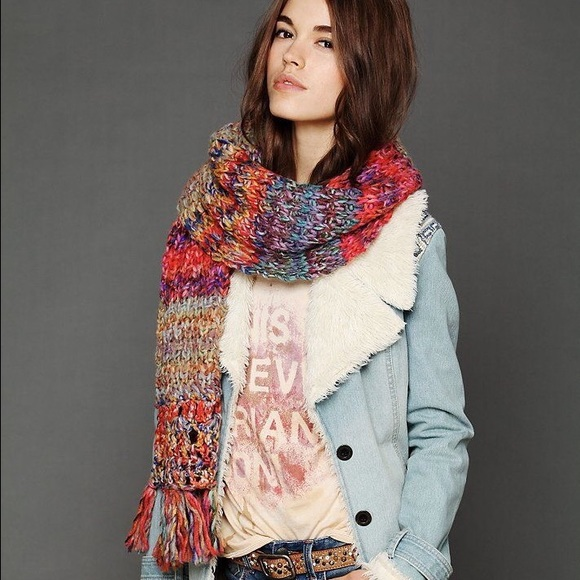 fcd17571 Free People Accessories - Free People Rainbow Knit Scarf