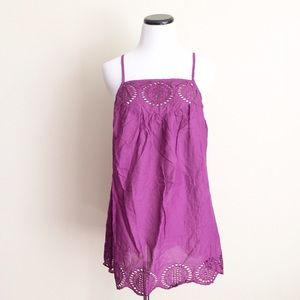 Mimi Chica Tops - NWT Mimi Chica magenta eyelet Tunic Tank Top