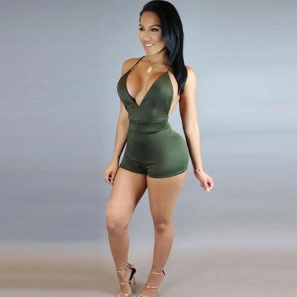 3817fcda5137 🆕ONLY2 Suede Olive Green Backless Romper Jumpsuit