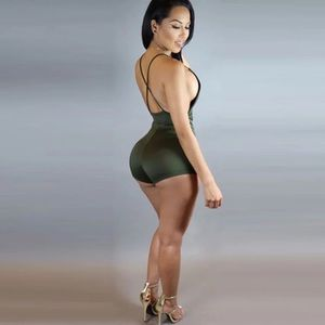 f5e4a242d4ad Trumpet Jewels Dresses - 🆕ONLY2 Suede Olive Green Backless Romper Jumpsuit